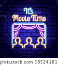 Cinema and Movie time neon signboard 58524181