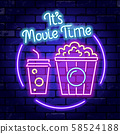 Cinema and Movie time neon signboard 58524188