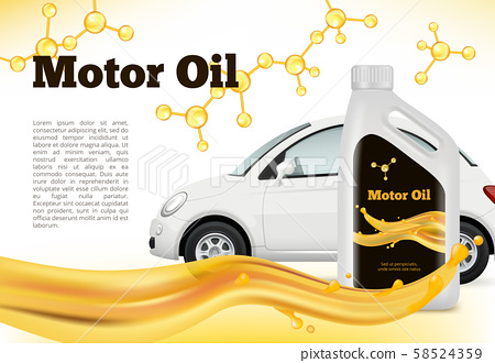 Realistic poster of car. Vector illustrations of Car oils advertizing 58524359