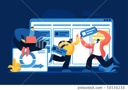 Project management flat vector illustration 58530238