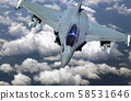 Military jet fighter flying above clouds 58531646