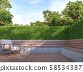 Wooden bench in the garden 3d render 58534387