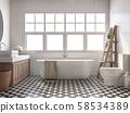 Vintage bathroom 3d render 58534389