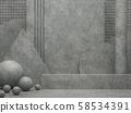 Various shapes of concrete elements background 3D render 58534391