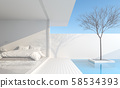 Minimalist bedroom In a private residence 3d render 58534393
