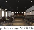 Industrial loft style coffee shop 3d render 58534394