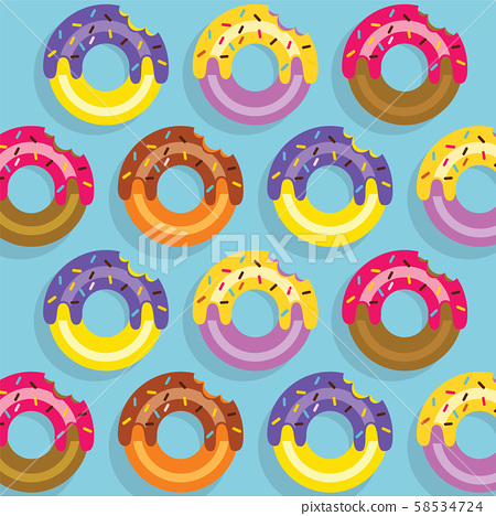 Pattern Colourful Donuts Vector Illustration 58534724