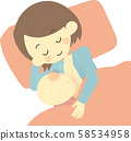 Lying mom and breastfeeding baby 58534958
