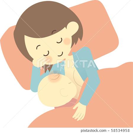 Lying mom and breastfeeding baby 58534958