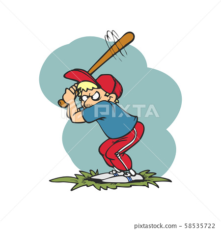 base ball players are hitting cartoon 58535722