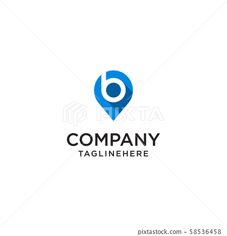 Letter B With Map Pointer logo design concept 58536458