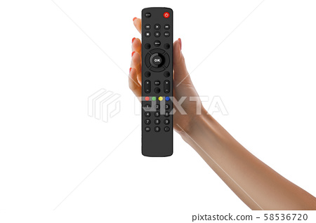 Hand holding universal remote control isolated on 58536720