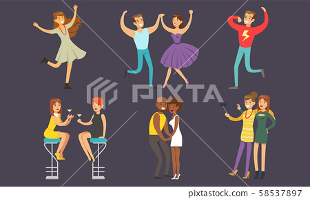 People Dancing and Drinking Cocktails at Nightclub Vector Illustration 58537897
