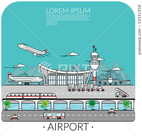 vector of busy airport with airplane take off , landing and parking include transportation around the airport. traveling by air concept 58541956