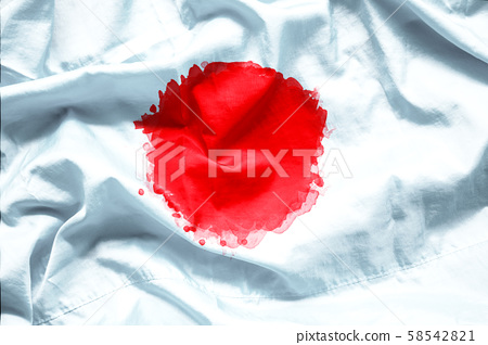 Flag of Japan by watercolor paint brush on canvas fabric, grunge style 58542821