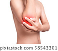 man suffering from elbow pain, joint pains. red color highlight with red at elbow isolated on white background. health care and medical concept 58543301
