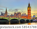 The Palace and the Bridge of Westminster in London at sunset - the United Kingdom 58543788
