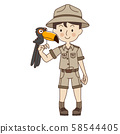 Zookeeper man with Toucan,cute zoo keeper in brown uniform. 58544405