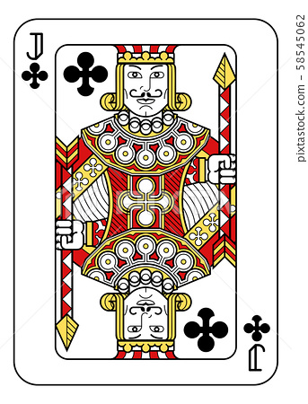 Playing Card Jack of Clubs Red Yellow and Black 58545062