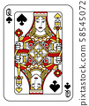 Playing Card Queen of Spades Red Yellow and Black 58545072