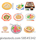 Set of various food menu 58545342