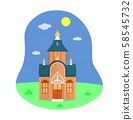 Illustration of Russian Orthodox wooden Church. Flat style. Vector. Isolated. 58545732