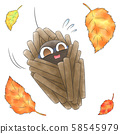 Fallen leaves and caterpillar 58545979