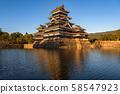 《Nagano Prefecture》Golden Matsumoto Castle, evening view 58547923
