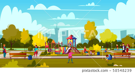 Cartoon Playground In Park With People Stock Illustration 58548239 Pixta Use them in commercial designs under lifetime, perpetual & worldwide rights. https www pixtastock com illustration 58548239