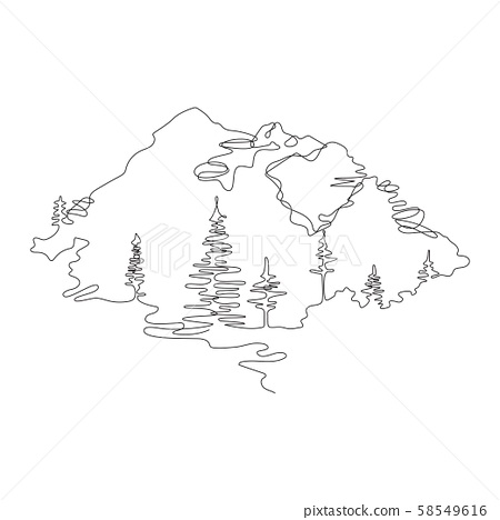 Mountain landscape, drawn in one line. Continuous line. Travels. 58549616