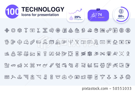 100 Technology line icon for presentation.  58551033