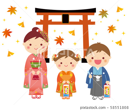 Shichigosan with torii and colored leaves background illustration 58551808