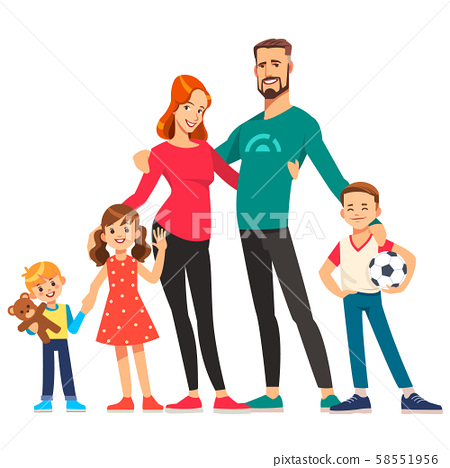Happy young family. Dad, mom, sons and daughter together. Vector illustration in cartoon style. 58551956