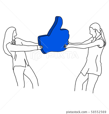 two women scramble for blue like sign vector 58552569
