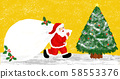 Santa Claus and a christmas tree in yellow 58553376