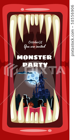 Creepy Monster Halloween party banner scary monster character teeth jaw in mouth closeup dark castle 58556906