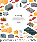 Vector cooking food isometric background 58557697