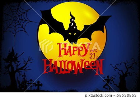 Happy Halloween typography and bat ,witch on blue background . Illustration design 58558865