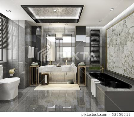 3d rendering modern bathroom with luxury tile decor  58559315