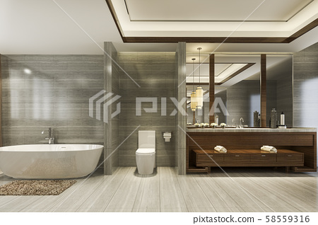 3d rendering modern bathroom with luxury tile decor  58559316