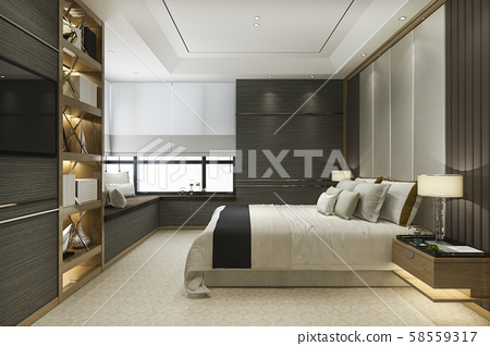 3d rendering wood modern luxury bedroom suite with bookshelf and cushion 58559317