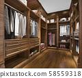 3d rendering minimal scandinavian wood walk in closet with wardrobe 58559318