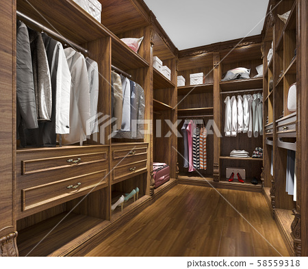 3d rendering minimal scandinavian wood walk in closet with wardrobe 58559318