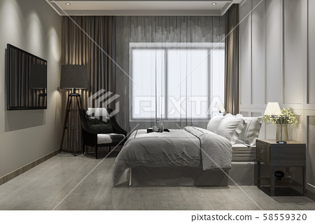 3d rendering beautiful luxury vintage bedroom suite in hotel with tv 58559320