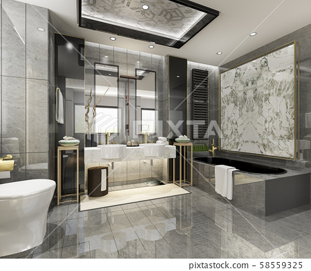 3d rendering modern bathroom with luxury tile decor  58559325