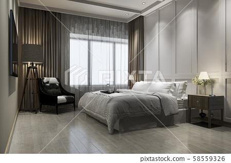 3d rendering beautiful luxury vintage bedroom suite in hotel with tv 58559326