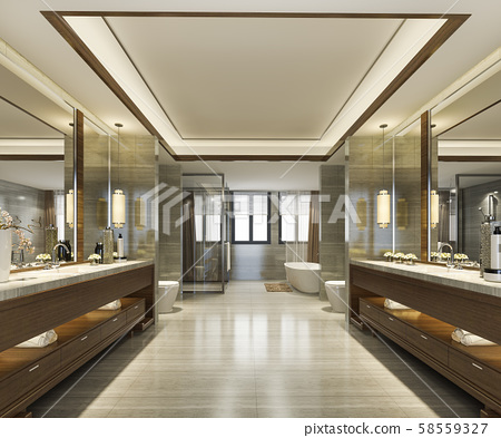 3d rendering modern bathroom with luxury tile decor  58559327