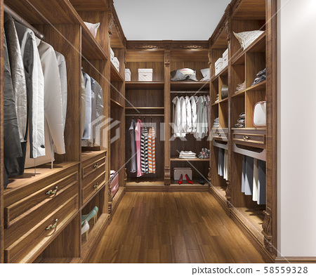 3d rendering minimal scandinavian wood walk in closet with wardrobe 58559328
