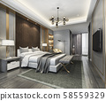 3d rendering beautiful luxury bedroom suite in hotel with tv and working table  58559329