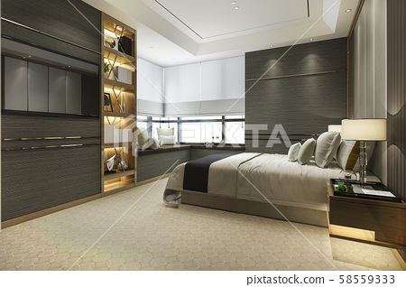3d rendering wood modern luxury bedroom suite with bookshelf and cushion 58559333